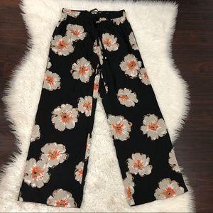 Ivanka Trump Black Floral Wide Leg pants